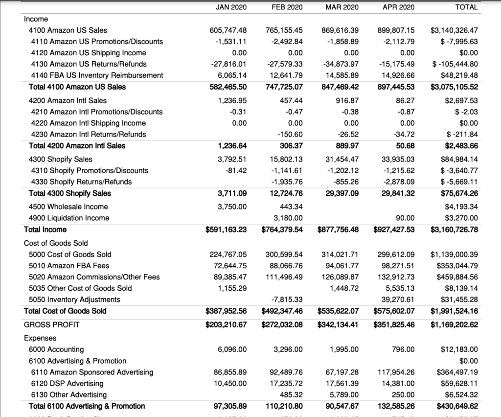 Sample LLC P&L by month
